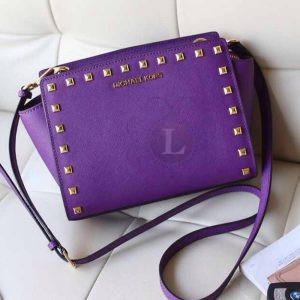 Replica Michael Kors Medium Selma Studded Messenger Violet