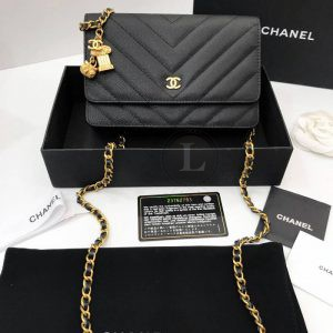 Replica Chanel WOC Chevron Caviar