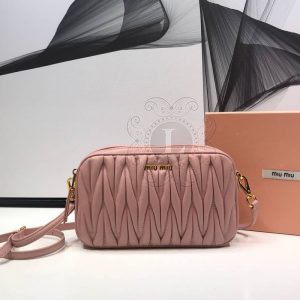Replica Miu Miu Matelassé Leather Bandoleer Bag Pink