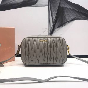 Replica Miu Miu Matelassé Leather Bandoleer Bag Grey