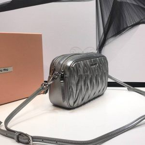 Replica Miu Miu Matelassé Leather Bandoleer Bag Silver
