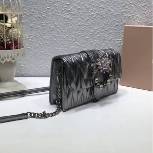 Replica Miu Miu Lady Matelassé Shoulder Bag Silver