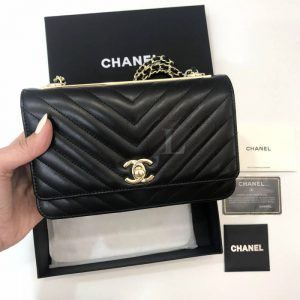 Replica Chanel Chevron Trendy CC WOC Black