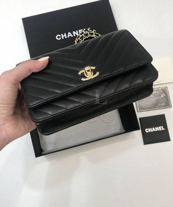 Replica Chanel Chevron Trendy CC WOC Black