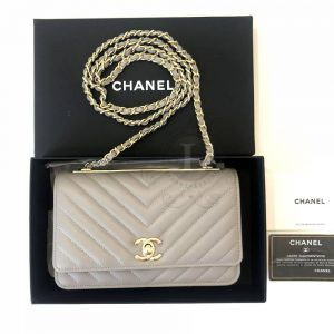 Replica Chanel Chevron Trendy CC WOC Grey