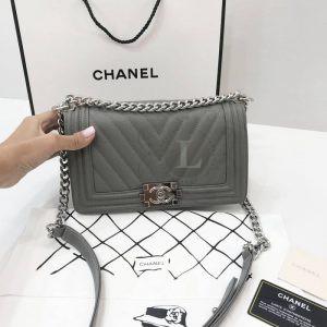 Replica Chanel Boy Chevron Grey Bag