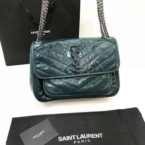 Replica Saint Laurent Niki Medium Green Leather Shoulder Bag
