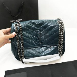 Replica YVES Saint Laurent Niki Medium Green Leather Shoulder Bag