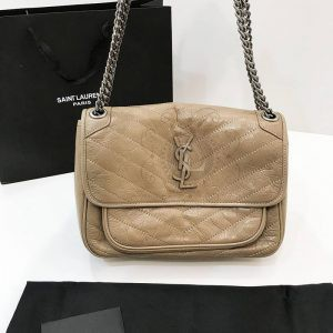 Replica YVES Saint Laurent Niki Medium Biege Leather Shoulder Bag