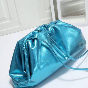 Replica Bottega Veneta The Pouch Blue Metallic Clutch