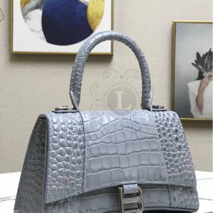 Replica Balenciaga Hourglass Top Chanele Bag Grey Crocodile
