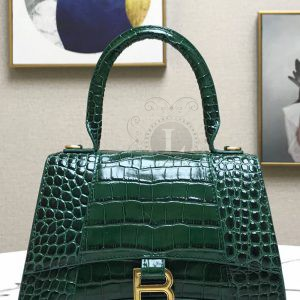 Replica Balensiaga Hourglass Top Chanele Bag Dark Green Crocodile