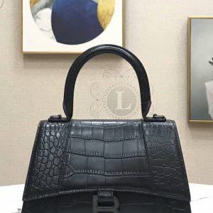 Replica Balenciaga Hourglass Top Chanele Bag Black Crocodile