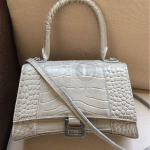 Replica Balenciaga Hourglass Small Top Chanele Bag Grey Croc