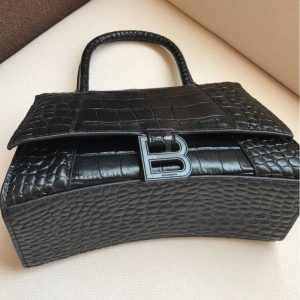 Replica Balenciaga Hourglass Small Top Chanele Bag Black Croc