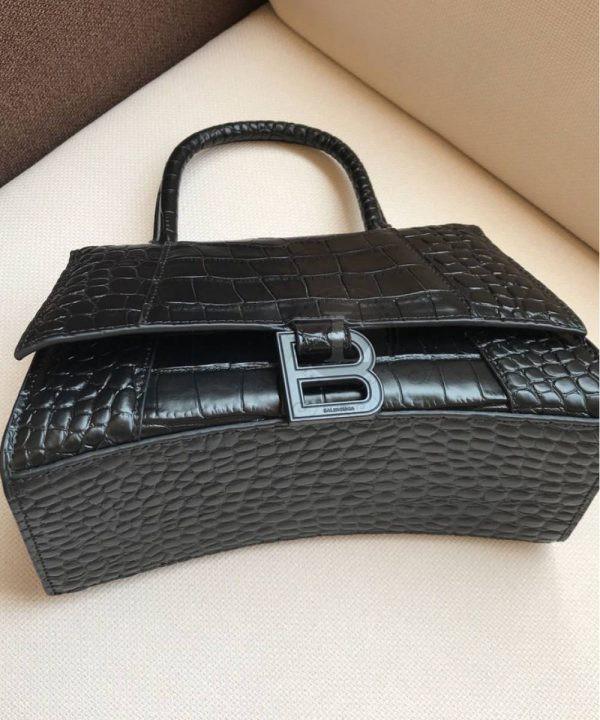 Replica Balenciaga Hourglass Small Top Chanele Bag Black Croc