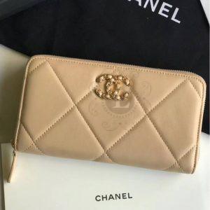 Replica Chanel 19 Flap Long Flap Wallet Beige