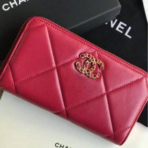 Replica Chanel 19 Flap Long Flap Wallet Red