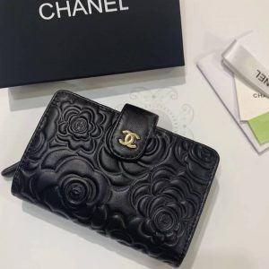 Replica Chanel Camellia Black Embossed French Wallet