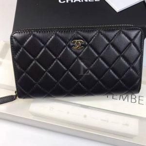 Replica Chanel Zip Around Wallet Lambskin Leather