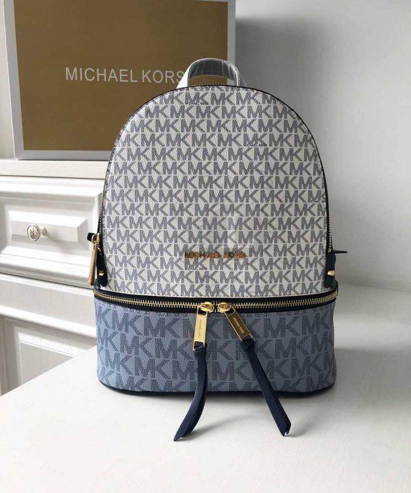 Replica Michael Kors Rhea Logo Backpack Vanilla Navy