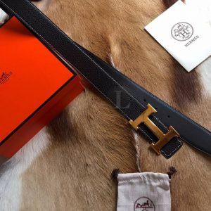 Replica Hermes H Belt Buckle & Reversible Leather Black