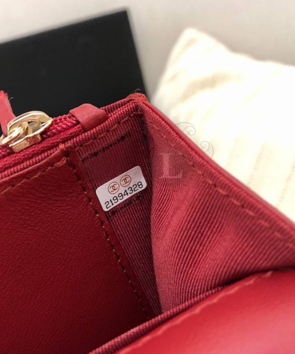 Replica Chanel 19 Wallet on Chain Bag Red