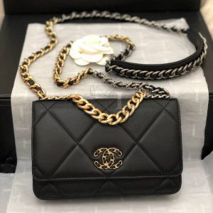 Replica Chanel 19 Wallet on Chain Bag Black