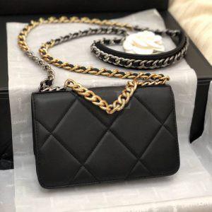 Replica Chanel 19 Wallet on Chain Bag Black