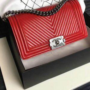 Replica Chanel Boy Chevron Red