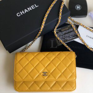 Replica Chanel WOC Wallet On Chain Caviar Yellow