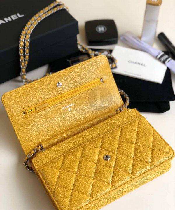 Replica Chanel WOC Wallet On Chain Caviar Yellow