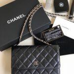 Replica Chanel WOC Wallet On Chain Caviar Black