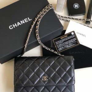 Replica Chanel WOC Wallet On Chain Caviar Black