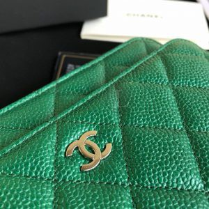 Replica Chanel WOC Wallet On Chain Caviar Green