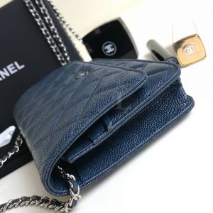 Replica Chanel WOC Wallet On Chain Caviar Blue