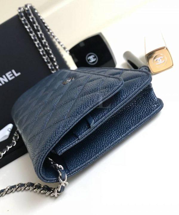 Replica Chanel WOC Wallet On Chain Caviar Blue