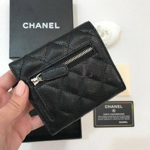 Replica Chanel Classic Small Flap Wallet Caviar Silber