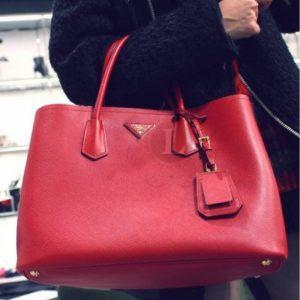 Replica Prada Cuir Double Bag Red