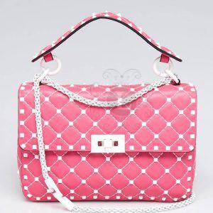 Replica Valentino Rockstud Quilted Leather Shoulder Bag Pink