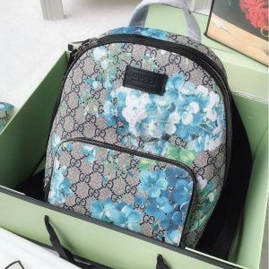 Replica Gucci Blooms Blue Coated Canvas Backpack
