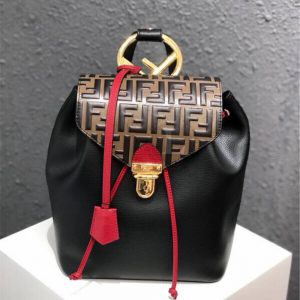 Replica Fendi Embossed And Textured Leather Backpack