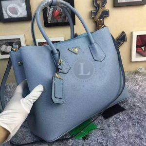Replica Prada Cuir Double Bag Light Blue