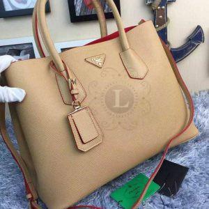 Replica Prada Cuir Double Bag Camel ()