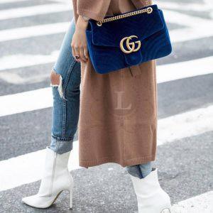 Replica GG Marmont Small Velvet Shoulder Bag