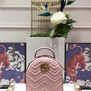 Replica Gucci GG Marmont Quilted Leather Backpack Pink