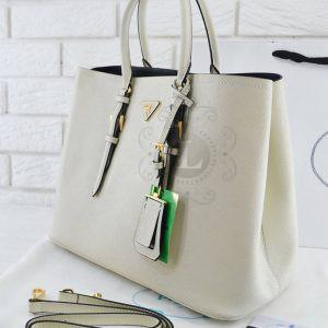 Replica Prada Cuir Double Bag White