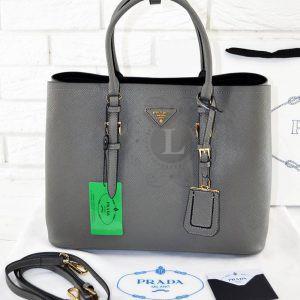 Replica Prada Cuir Double Bag Grey