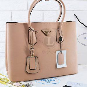 Replica Prada Cuir Double Bag Biege