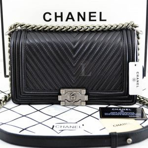 Replica Chanel Boy Chevron Black